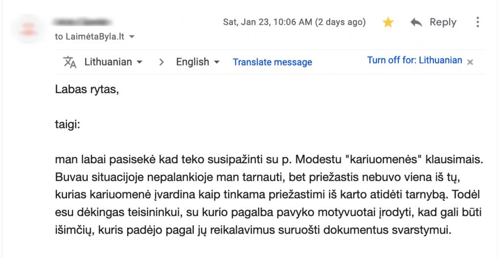 Atsiliepimas 3 - Email1